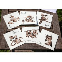 Lot de 6 cartes Bestiaire